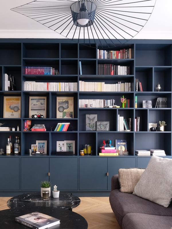 Bonne Nouvelle salon bibliothèque luminaire